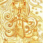 Orange Yoga Gypsy Sketch – Whimsical Folk Art Girl in Namaste Pose by erica lubee  ~ SkyBlueWithDaisies