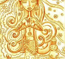 Orange Yoga Gypsy Sketch – Whimsical Folk Art Girl in Namaste Pose by erica lubee  ~ SkyBlueWithDaisies