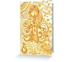 Orange Yoga Gypsy Sketch – Whimsical Folk Art Girl in Namaste Pose Greeting Card
