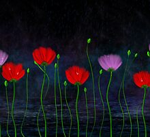 Red and pink flowers and abstract rain by Nika Lerman
