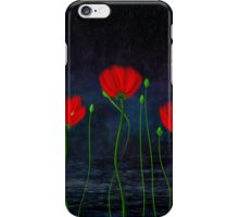 Red and pink flowers and abstract rain iPhone Case/Skin