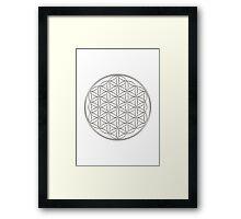 Flower of life - Silver, healing & energizing Framed Print
