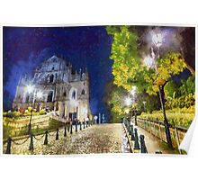 Ruins of St. Paul's during at night Poster