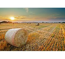 Hay bales at Sunset Photographic Print
