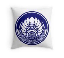 Mayan mask, crop circle, Quetzalcoatl Throw Pillow