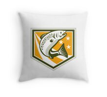 Trout Jumping Retro Shield Throw Pillow