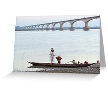 Boatmen at the river bank Greeting Card
