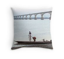 Boatmen at the river bank Throw Pillow
