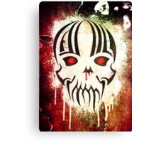 Bleeding Skull - Modern Skull T-Shirt Design with Blood and Grunge Texture Canvas Print