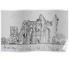 Pencil Sketch of Old Wardour Castle, England Poster