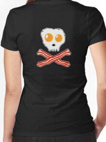 Bacon & Eggs Skull Women's Fitted V-Neck T-Shirt