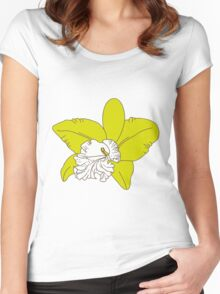 green orchids on brown background Women's Fitted Scoop T-Shirt