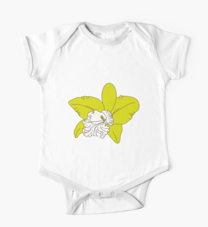 green orchids on brown background One Piece - Short Sleeve