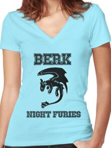 Berk Night Furies Women's Fitted V-Neck T-Shirt