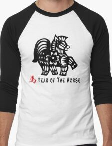 Year of The Horse Papercut Men's Baseball ¾ T-Shirt