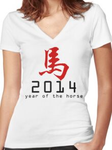 Asian Oriental Chinese Zodiac Horse T-Shirt 2014 Women's Fitted V-Neck T-Shirt