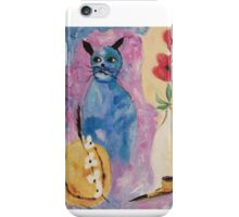 Blue China Cat by Suzanne Marie Leclair iPhone Case/Skin