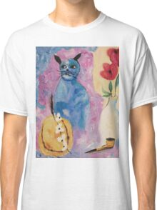 Blue China Cat by Suzanne Marie Leclair Classic T-Shirt