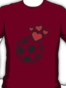 I Love Soccer Ball Hearts Logo T-Shirt