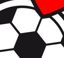 I Love Soccer Ball Hearts Logo Sticker