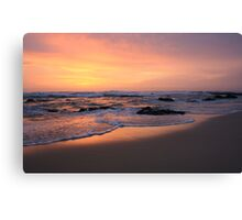 morning fire on the beach .. Canvas Print