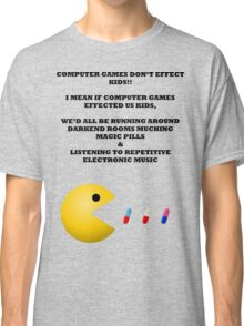 PAC MAN COMPUTER GAMES ELECTRONIC EATING PILLS BLACK Classic T-Shirt