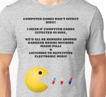 PAC MAN COMPUTER GAMES ELECTRONIC EATING PILLS BLACK Unisex T-Shirt