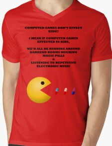 PAC MAN COMPUTER GAMES ELECTRONIC EATING PILLS BLACK Mens V-Neck T-Shirt