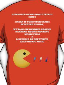 PAC MAN COMPUTER GAMES ELECTRONIC EATING PILLS WHITE T-Shirt