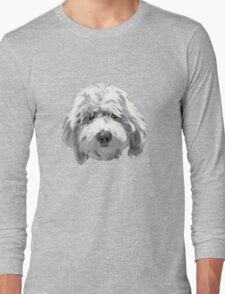Lucky Labradoodle Face Graphic ~ white tones Long Sleeve T-Shirt