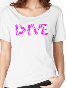 DIVE WITH DIVERS IN PINK Women's Relaxed Fit T-Shirt