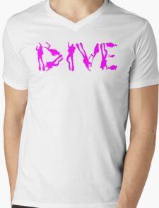 DIVE WITH DIVERS IN PINK Mens V-Neck T-Shirt