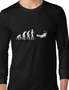 Evolution to Scuba Diver WHITE Long Sleeve T-Shirt