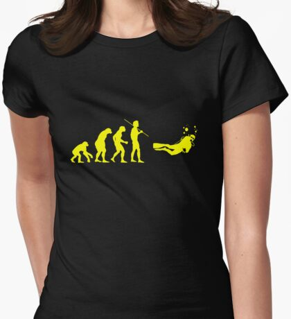 Evolution to Scuba Diver YELLOW Womens Fitted T-Shirt