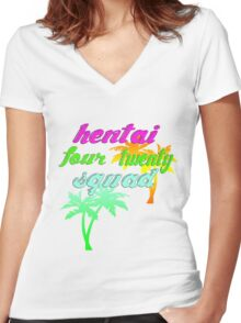 Hentai Squad 420 80's Women's Fitted V-Neck T-Shirt