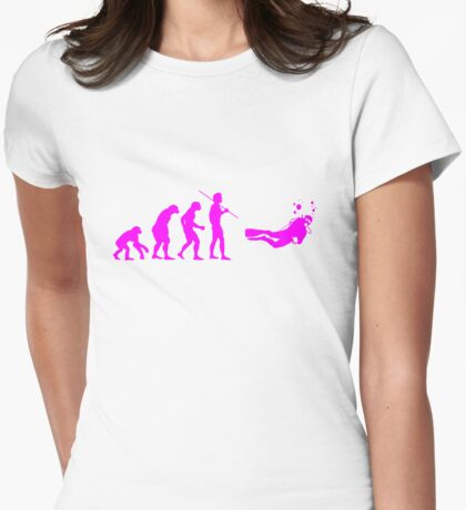 Evolution to Scuba Diver PINK Womens Fitted T-Shirt