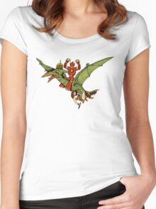 Pterodactyl and Robot Women's Fitted Scoop T-Shirt