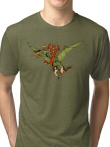 Pterodactyl and Robot Tri-blend T-Shirt