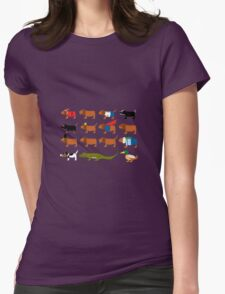 Sneaky Dog and friends Womens Fitted T-Shirt