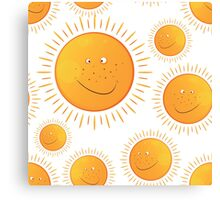 funny smiling sun in the  seamless pattern Canvas Print