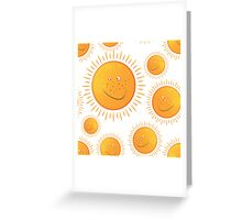funny smiling sun in the  seamless pattern Greeting Card