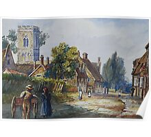 watercolour of Little Houghton, Northamptonshire, 1873 Poster