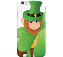 leprechaun or gnome on patrick day lurk for clover iPhone Case/Skin