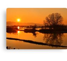 Sunset @ Lake Kerkini Canvas Print