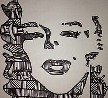 Marilyn Monroe Tribal Print Drawing by Cassidy DeMona