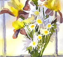 Daisies with Yellow Irises by KipDeVore