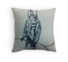 Inky Sparrow Throw Pillow