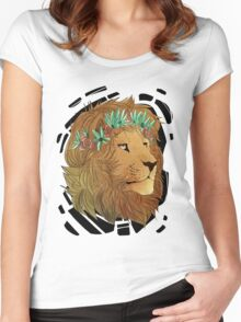Flower Crown Lion Women's Fitted Scoop T-Shirt