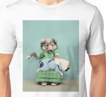 Mummy Dog sewing her puppy's clothing Unisex T-Shirt