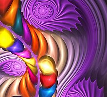 Purple Spirals, abstract fractal artwork by walstraasart